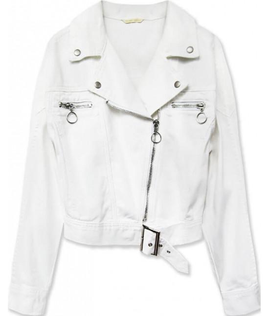 Krátka dámska jeansová bunda z golierom MODA115 biela