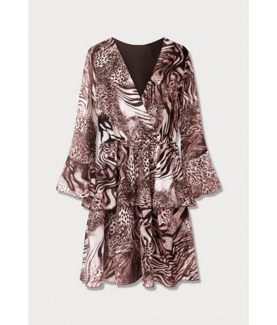 Dámske šaty z prekladaným dekoltom MODA454/4 ružové
