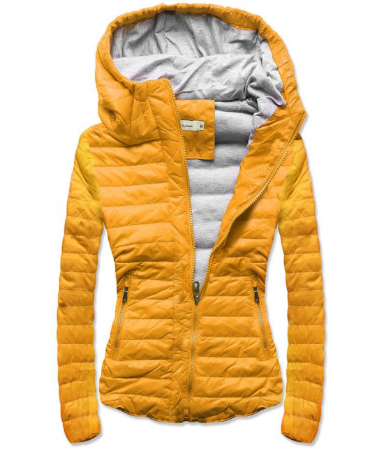 Prešívaná dámska jarná bunda MODA115 žltá veľkosť S
