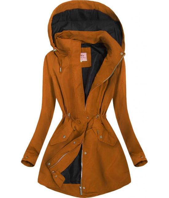 Dámska prechodná jarná bunda MODA02BIG karamelová veľkosť 3XL