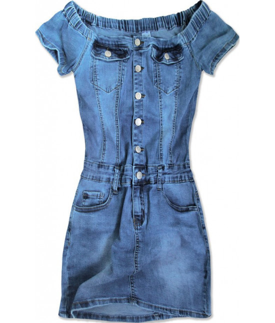 Dámske jeansové šaty s odkrytými ramenami MODA102 modré