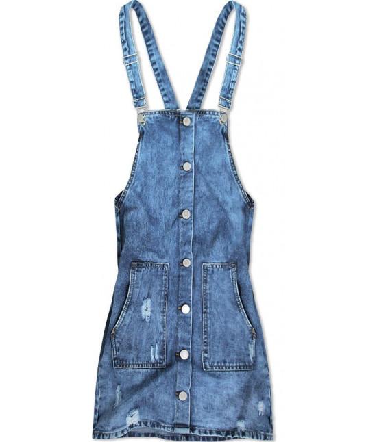 Dámske jeansové šaty na traky MODA050 modrá