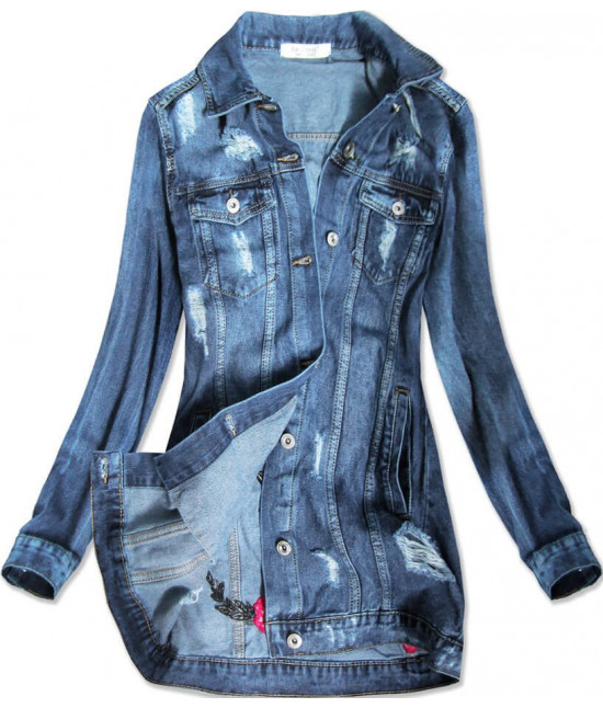 Dlhá dámska jeansová bunda MODA089 modrá