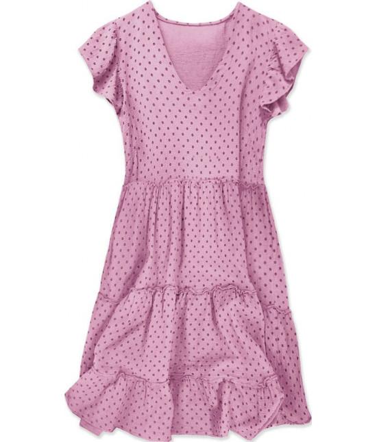 Dámske bodkované letné šaty MODA584 ružové