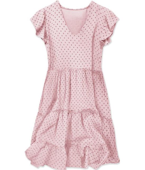 Dámske bodkované letné šaty MODA584 svetloružové