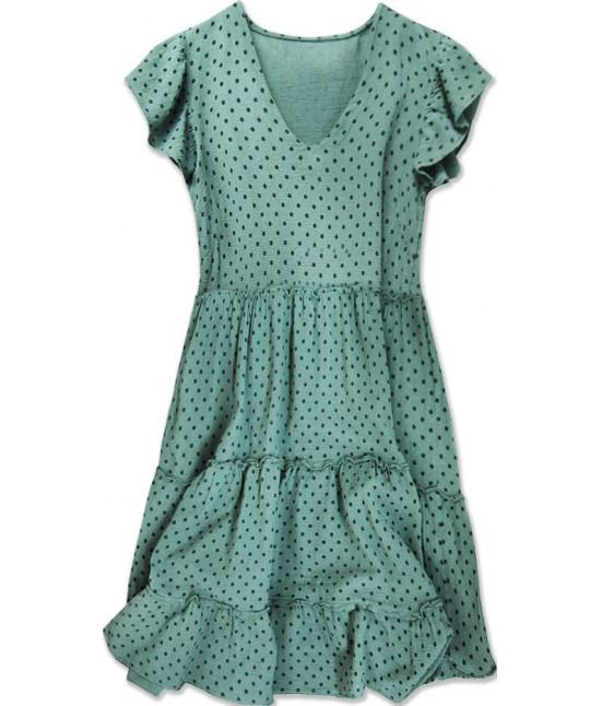 Dámske bodkované letné šaty MODA584 zelené