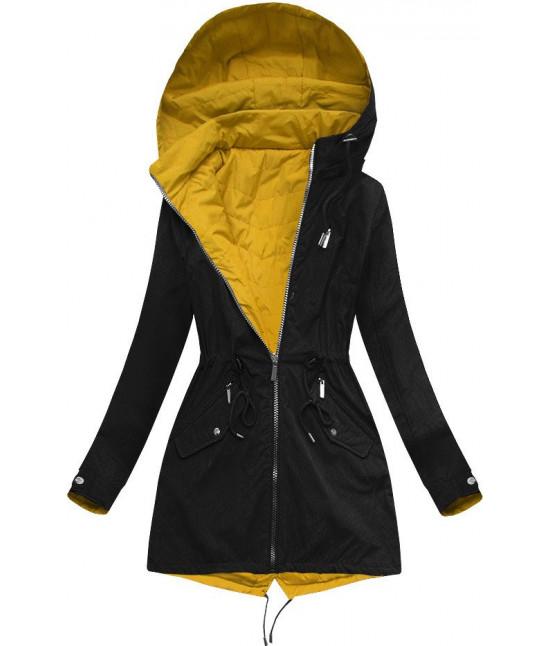 Dámska obojstranná jarná bunda MODA304BIG čierno-žltá veľkosť 5XL