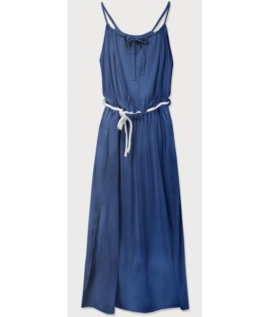 Dámske dlhé šaty MODA594 modré
