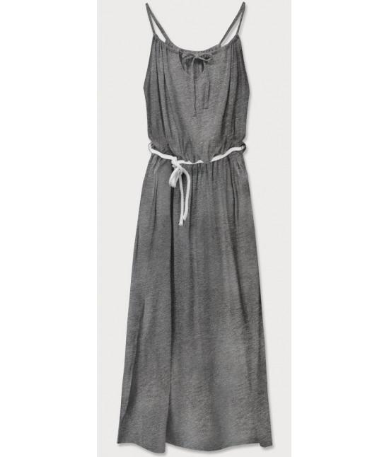 Dámske dlhé šaty MODA594 tmavošedé