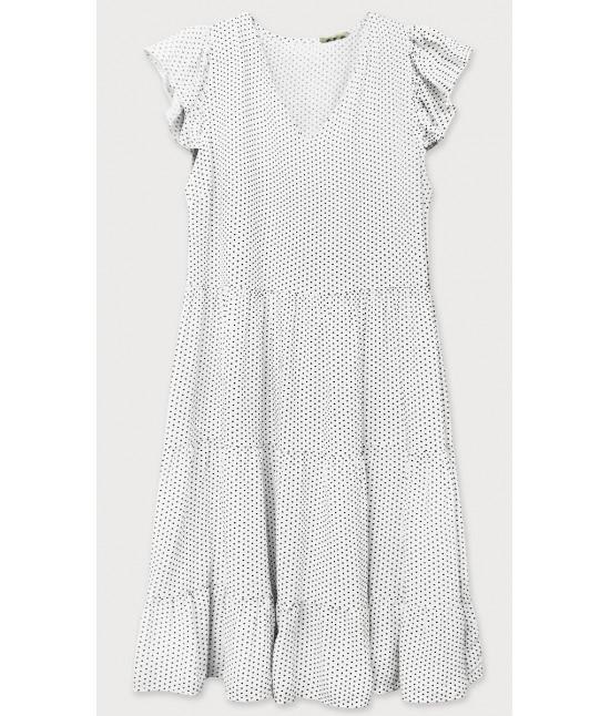 Dámske letné šaty bodkované MODA588 biele