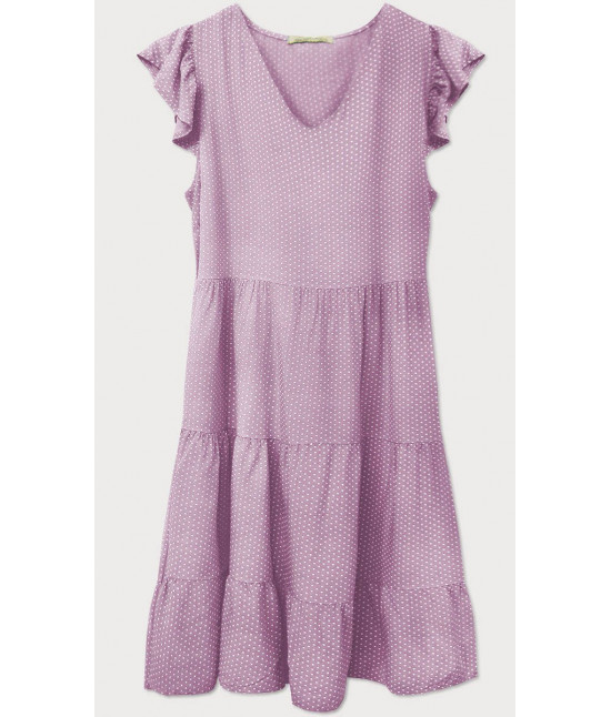 Dámske letné šaty bodkované MODA588 fialové