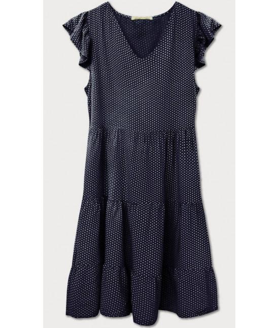 Dámske letné šaty bodkované MODA588 tmavomodré