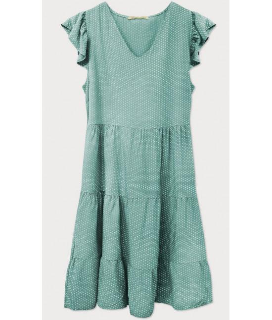 Dámske letné šaty bodkované MODA588 zelené