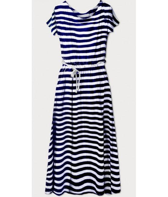 Voľné dámske šaty MODA593 tmavomodro-biele