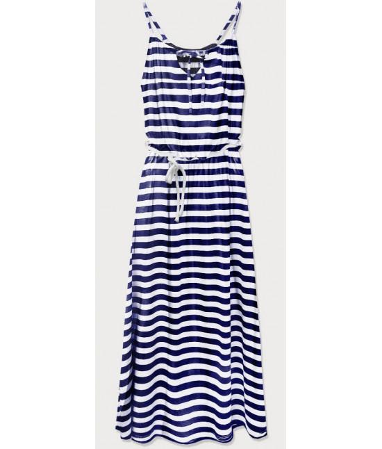 Dámske dlhé šaty MODA594 tmavomodro-biele