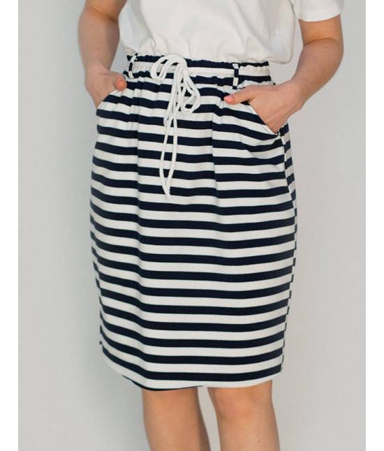 Dámska tepláková sukňa MODA592 tmavomodro-biela