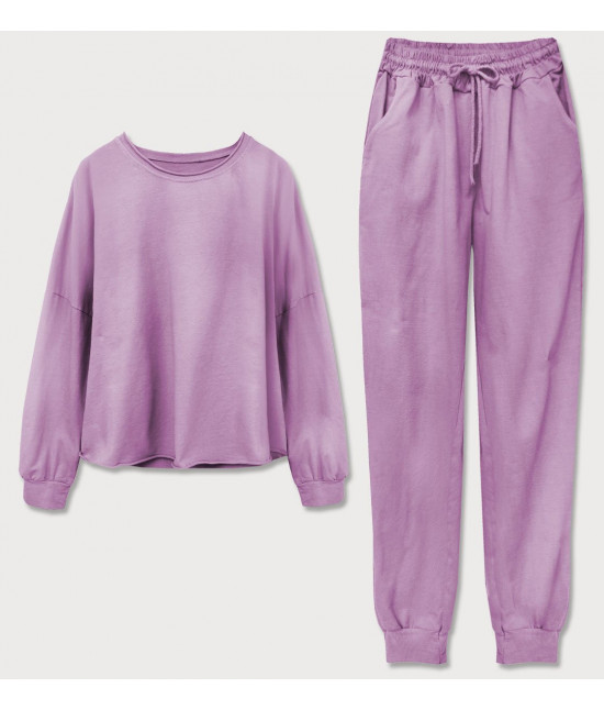 Dámska tepláková bavlnená súprava MODA610 fialová