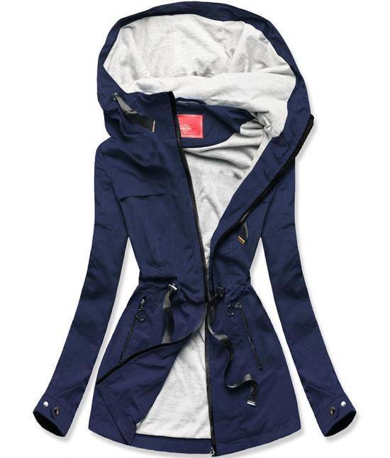 Krátka dámska jarná bunda parka MODA336 tmavomodrá veľkosť XL