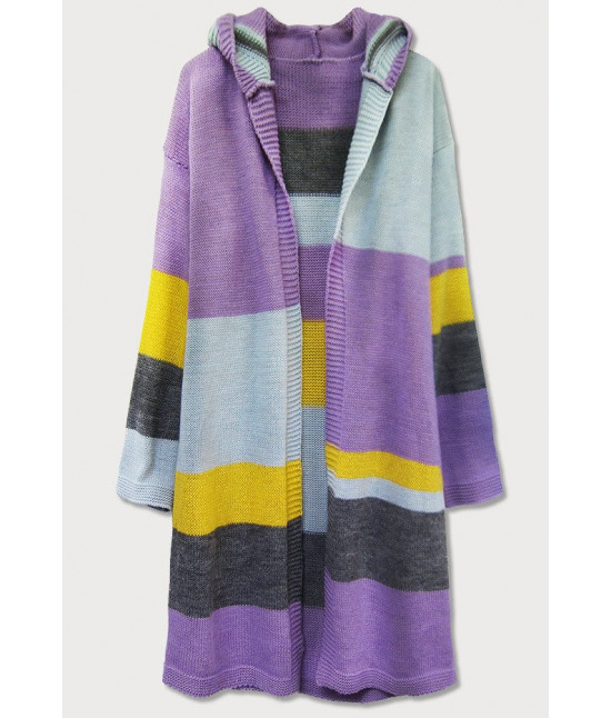 Dámsky sveter s kapucňou kardigan MODA613 fialový