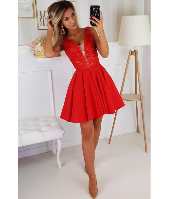 Dámske spoločenské krátke šaty MODA196 červené