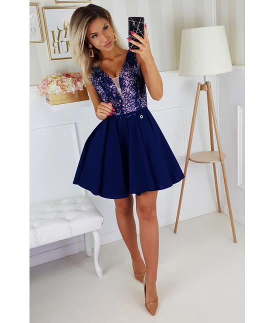 Dámske spoločenské krátke šaty MODA196 modré
