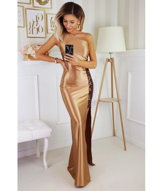 Dámske spoločenské šaty na jedno rameno MODA203 zlaté