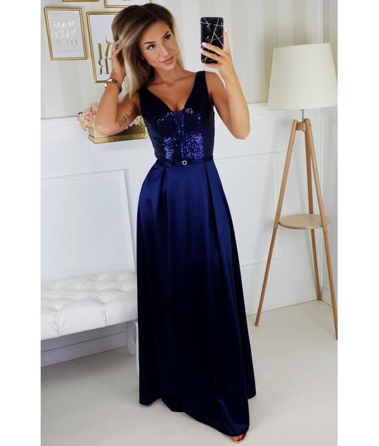 Dámske dlhé spoločenské šaty MODA204 modré