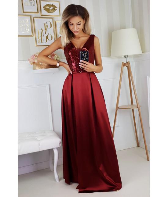 Dámske dlhé spoločenské šaty MODA204 bordové
