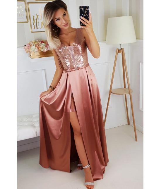 Dámske dlhé spoločenské šaty MODA204 ružové