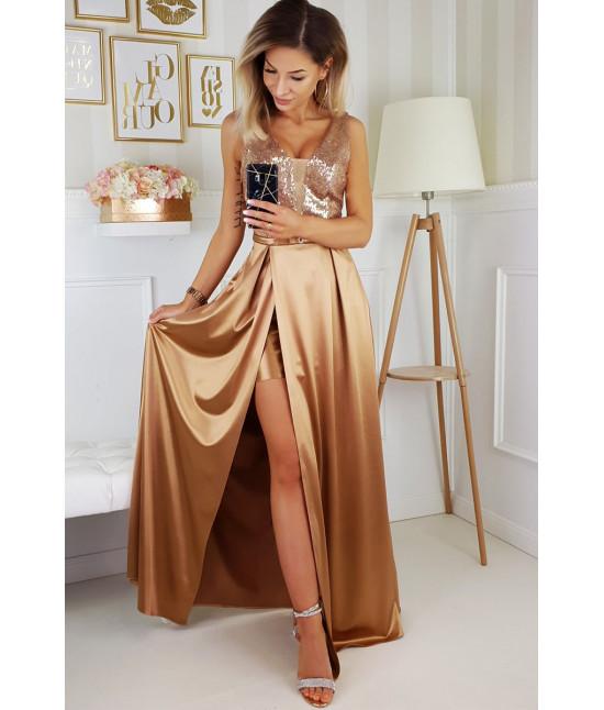 Dámske dlhé spoločenské šaty MODA204 zlaté