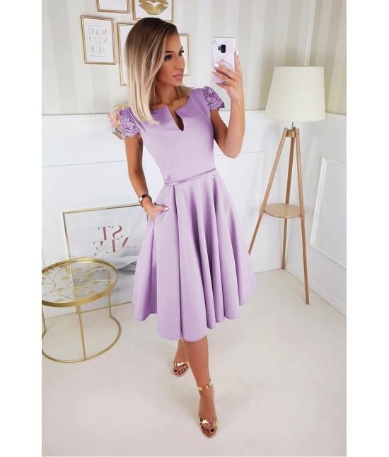 Dámske kokteilov midi šaty MODA212 fialové