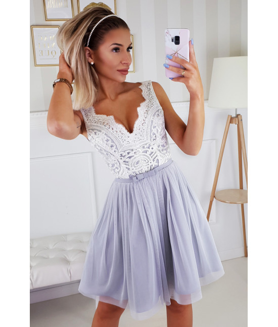 Dámske spoločenské šaty MODA206 ecru-šedé