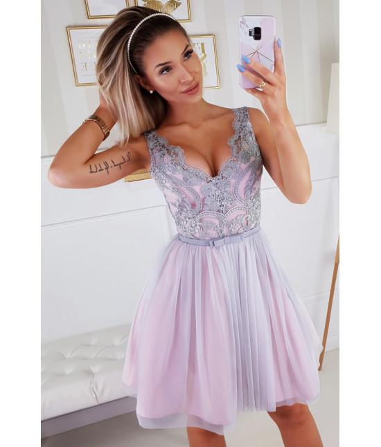 Dámske spoločenské šaty MODA206 ružovo-šedé