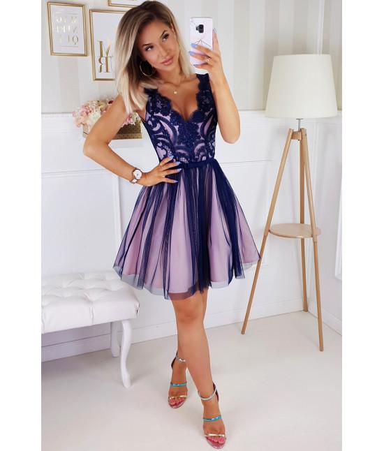 Dámske spoločenské šaty MODA206 tmavomodro-ružové