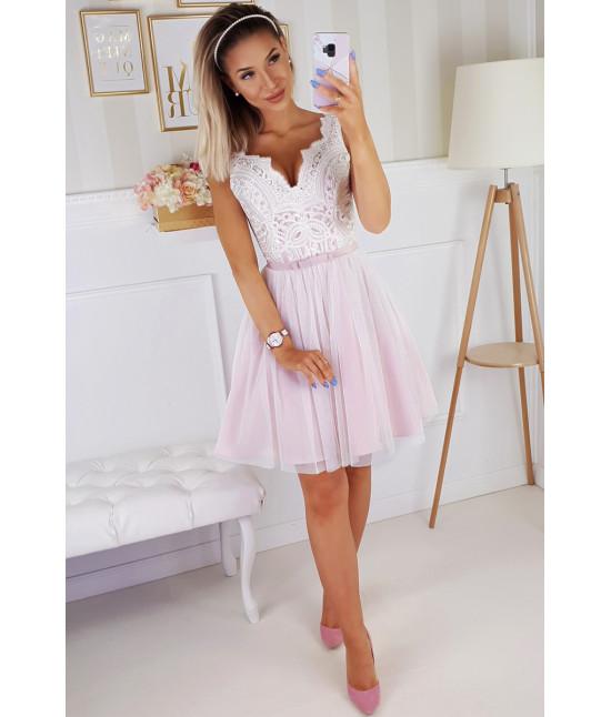 Dámske spoločenské šaty MODA206 ružovo-ecru