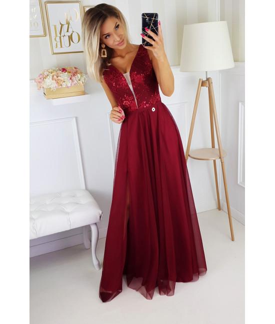 Dámske dlhé spoločenské šaty MODA195 bordové