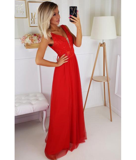 Dámske dlhé spoločenské šaty MODA195 červené