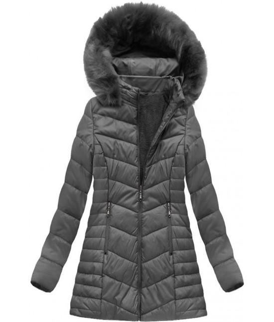 Dámska zimná bunda MODA021-30 BIG tmavošedá veľkosť 3XL