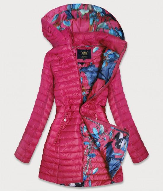 Dámska dlhá jesenná bunda MODA178 ružová