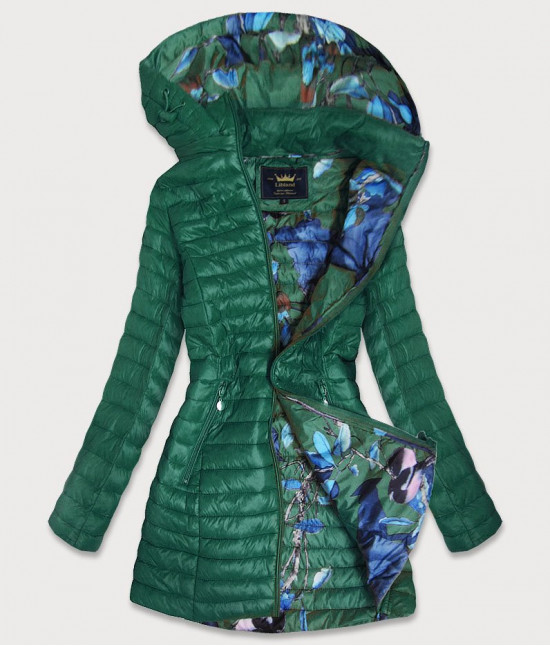 Dámska dlhá jesenná bunda MODA178 zelená
