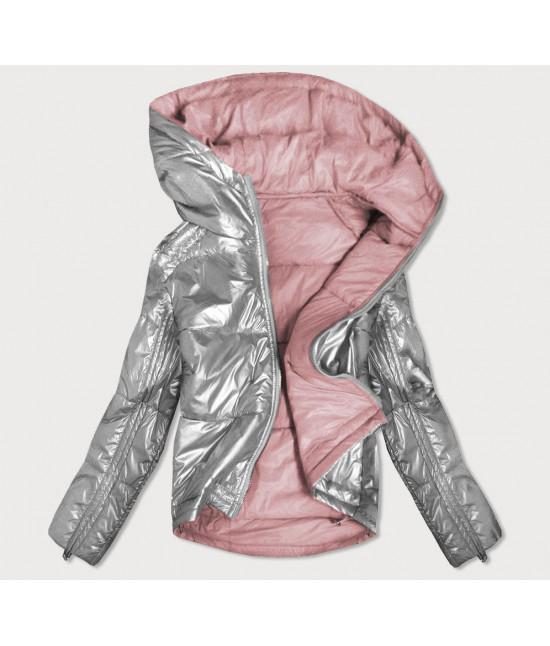 Dámska obojstranná jesenná bunda MODA553 šedo-ružová