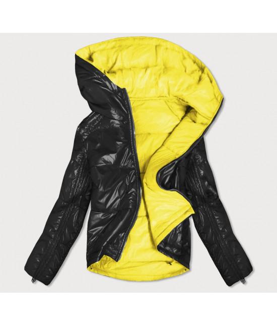 Dámska obojstranná jesenná bunda MODA553 čierno-žltá