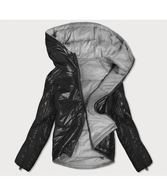 Dámska obojstranná jesenná bunda MODA553 čierno-šedá