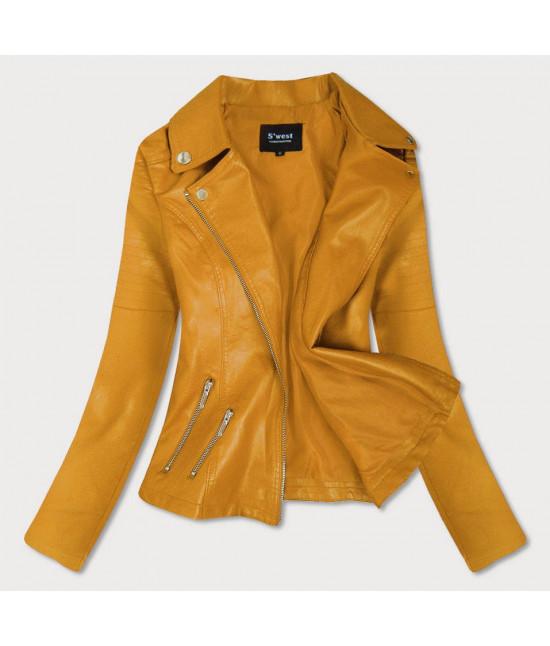 Dámska koženková bunda MODA18 žltá