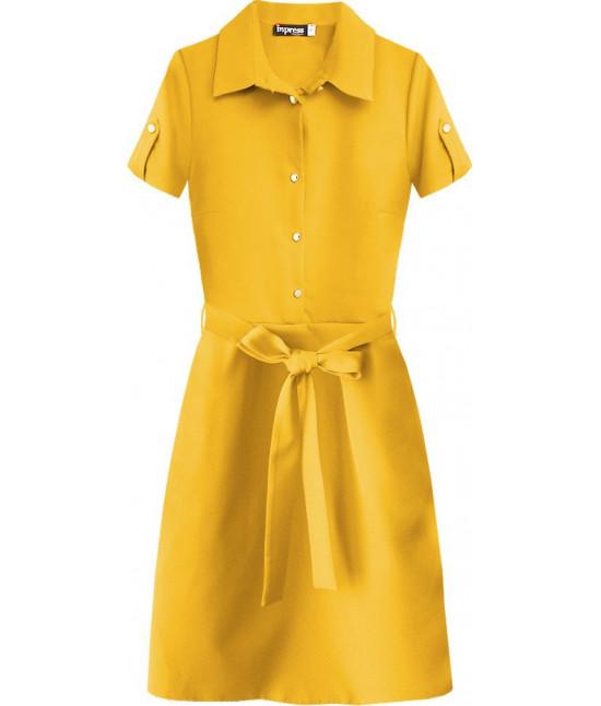 Dámske šaty s golierom MODA431 žlté veľkosť S