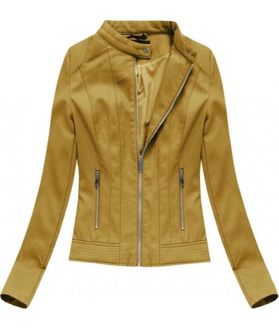 Dámska koženková bunda 5373 horčicová