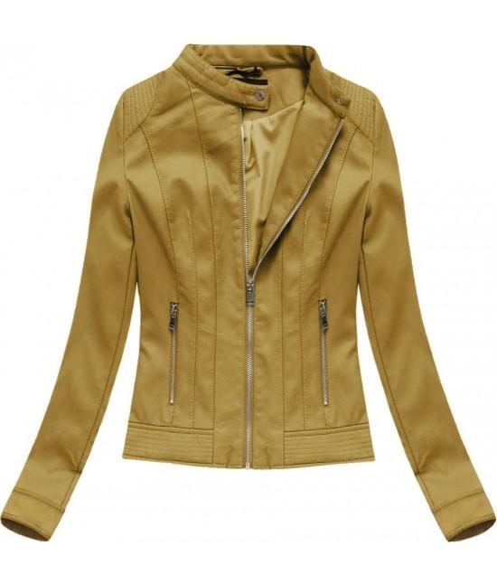 Dámska koženková bunda 5373BIG horčicová