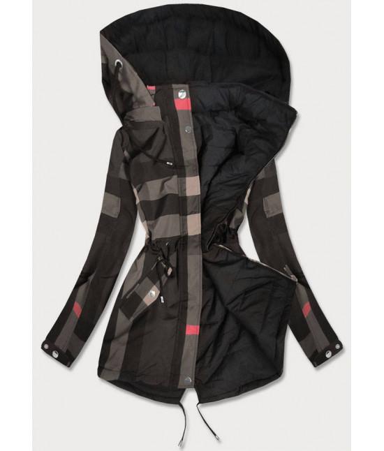 Obojstranná jesenná bunda MODA655BIG  tmavošedo-čierna