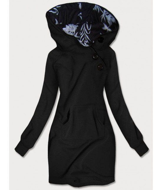 Dlhá dámska mikina s kapucňou MODA696 čierna