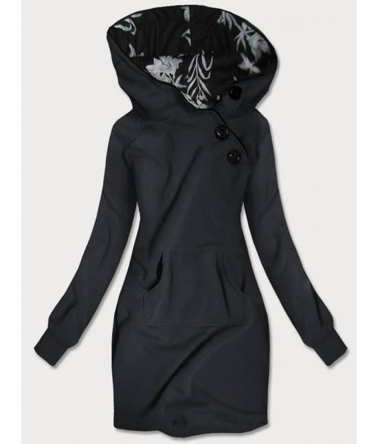 Dlhá dámska mikina s kapucňou MODA696 šedá